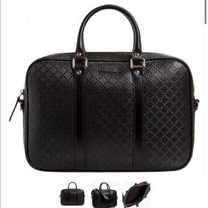 GUCCI DIAMANTE LEATHER CONVERTIBLE SATCHEL BLACK